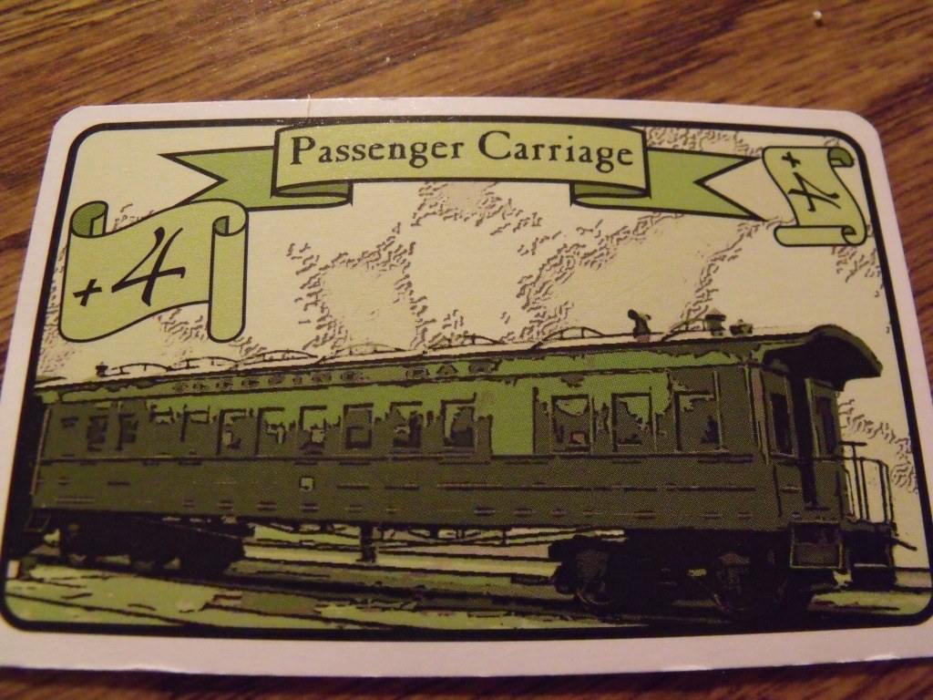 A typical passenger card. The game refers to them as carriages, but these are clear stylized images of American equipment, and therefore railcars, or coaches