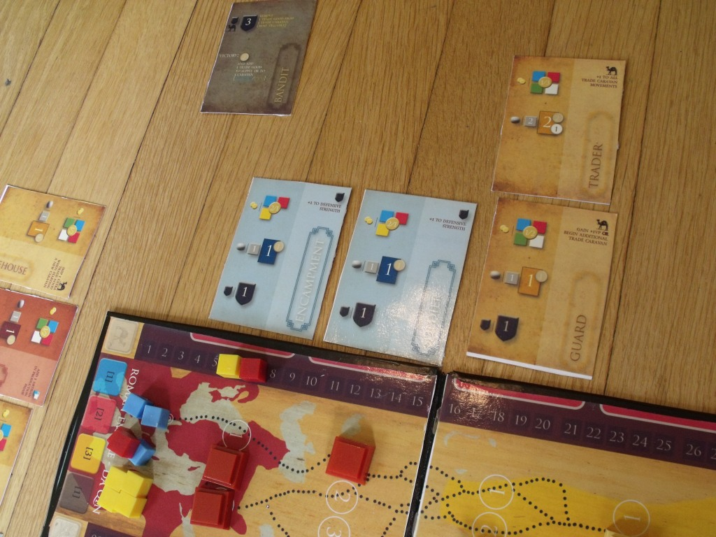 The Roman empire successfully drives off the  Bandit with a defense value of 3 built cards; each yielding 1 defense